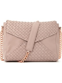 Masila Chain Strap Weaved Handbag - predominant colour: blush; occasions: casual; style: shoulder; length: across body/long; size: standard; material: leather; finish: plain