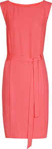 West Belted Shift Dress - style: shift; neckline: slash/boat neckline; fit: tailored/fitted; pattern: plain; sleeve style: sleeveless; waist detail: belted waist/tie at waist/drawstring; predominant colour: coral; length: just above the knee; occasions: occasion; sleeve length: sleeveless; texture group: crepes; pattern type: fabric; fibres: viscose/rayon - mix