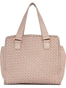 Olisa Weave Fringed Tote - predominant colour: blush; occasions: casual, work; style: tote; length: hand carry; size: standard; material: leather; pattern: plain; finish: plain