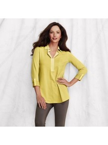 Yellow Womens Johnny Collar Tunic - neckline: shirt collar/peter pan/zip with opening; pattern: plain; length: below the bottom; style: blouse; predominant colour: primrose yellow; secondary colour: primrose yellow; occasions: casual, evening, work, holiday; fibres: cotton - stretch; fit: straight cut; hip detail: dip hem; bust detail: contrast pattern/fabric/detail at bust; sleeve length: 3/4 length; sleeve style: standard; pattern type: fabric; texture group: jersey - stretchy/drapey