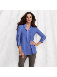 Blue Womens Johnny Collar Tunic - neckline: shirt collar/peter pan/zip with opening; pattern: plain; length: below the bottom; style: tunic; predominant colour: royal blue; secondary colour: denim; occasions: casual, work, holiday; fibres: cotton - stretch; fit: straight cut; bust detail: contrast pattern/fabric/detail at bust; sleeve length: 3/4 length; sleeve style: standard; texture group: cotton feel fabrics; pattern type: fabric