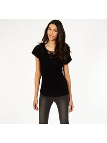 Cutwork Atlas Tee - neckline: round neck; pattern: plain; style: t-shirt; predominant colour: black; occasions: casual; length: standard; fibres: cotton - 100%; fit: body skimming; sleeve length: short sleeve; sleeve style: standard; texture group: cotton feel fabrics; pattern type: fabric