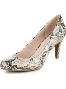 Faux Snakeskin Design Court Shoes - predominant colour: stone; secondary colour: black; occasions: work; material: faux leather; heel height: high; heel: stiletto; toe: round toe; style: courts; finish: plain; pattern: animal print; brand specific: wide fit