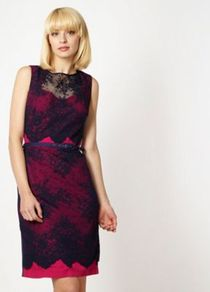 Designer Navy Contrasting Lace Dress - style: shift; fit: tailored/fitted; sleeve style: sleeveless; waist detail: belted waist/tie at waist/drawstring; back detail: contrast pattern/fabric at back; secondary colour: hot pink; predominant colour: navy; occasions: evening, work, occasion; length: just above the knee; fibres: polyester/polyamide - mix; neckline: crew; sleeve length: sleeveless; texture group: crepes; trends: glamorous day shifts; pattern type: fabric; pattern size: standard; pattern: colourblock; embellishment: lace