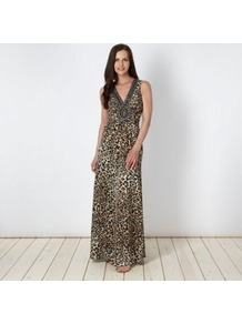 Designer Natural Animal Maxi Dress - neckline: low v-neck; sleeve style: sleeveless; style: maxi dress; bust detail: added detail/embellishment at bust; predominant colour: tan; occasions: evening, occasion; length: floor length; fit: body skimming; fibres: polyester/polyamide - 100%; sleeve length: sleeveless; texture group: sheer fabrics/chiffon/organza etc.; pattern type: fabric; pattern size: small & busy; pattern: animal print; embellishment: beading