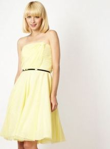 Designer Yellow Strapless Mesh Prom Dress - neckline: strapless (straight/sweetheart); style: prom dress; sleeve style: strapless; waist detail: belted waist/tie at waist/drawstring; bust detail: ruching/gathering/draping/layers/pintuck pleats at bust; predominant colour: primrose yellow; occasions: evening, occasion; length: just above the knee; fit: fitted at waist &amp; bust; fibres: polyester/polyamide - 100%; sleeve length: sleeveless; trends: volume