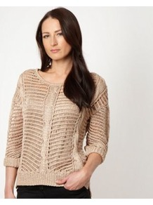 Designer Beige Metallic Open Knit Jumper - neckline: round neck; pattern: plain; style: standard; predominant colour: camel; occasions: casual, evening, work; length: standard; fibres: acrylic - 100%; fit: loose; bust detail: contrast pattern/fabric/detail at bust; sleeve length: 3/4 length; sleeve style: standard; texture group: knits/crochet; trends: metallics; pattern type: knitted - big stitch; pattern size: standard