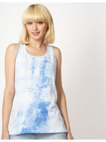 Designer Blue Dip Dye Vest - neckline: round neck; sleeve style: sleeveless; style: vest top; pattern: tie dye; predominant colour: white; secondary colour: diva blue; occasions: casual; length: standard; fibres: cotton - 100%; fit: body skimming; sleeve length: sleeveless; pattern type: fabric; pattern size: standard; texture group: jersey - stretchy/drapey