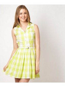 Designer Lime Green Checked Day Dress - length: mid thigh; neckline: shirt collar/peter pan/zip with opening; sleeve style: sleeveless; pattern: checked/gingham; waist detail: belted waist/tie at waist/drawstring; bust detail: buttons at bust (in middle at breastbone)/zip detail at bust; secondary colour: white; predominant colour: lime; occasions: casual, holiday; fit: fitted at waist & bust; style: fit & flare; fibres: cotton - 100%; hip detail: soft pleats at hip/draping at hip/flared at hip; sleeve length: sleeveless; texture group: cotton feel fabrics; pattern type: fabric; pattern size: standard