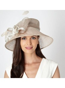 Cream Metallic Bow Hat - predominant colour: champagne; occasions: evening, occasion; type of pattern: light; style: wide brimmed; size: large; material: sinamay; embellishment: bow; pattern: plain