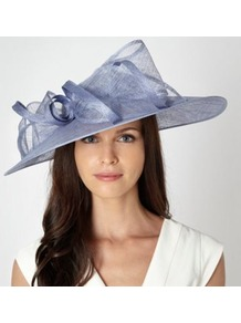 Pale Blue Bow Twist Hair Piece - predominant colour: pale blue; occasions: evening, occasion; type of pattern: standard; style: wide brimmed; size: large; material: sinamay; embellishment: bow; pattern: plain
