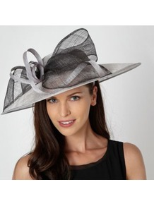 Grey Two Tone Bow Occasion Hat - predominant colour: mid grey; secondary colour: light grey; occasions: evening, occasion; type of pattern: light; style: wide brimmed; size: standard; material: sinamay; embellishment: bow; pattern: plain