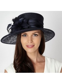 Navy Double Feather Corsage Hat - predominant colour: navy; occasions: evening, occasion; type of pattern: standard; style: wide brimmed; size: large; material: sinamay; pattern: plain; embellishment: corsage