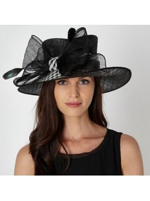 Black Checked Bow Hat - secondary colour: white; predominant colour: black; occasions: evening, occasion; type of pattern: small; style: wide brimmed; size: large; material: sinamay; embellishment: bow; pattern: plain
