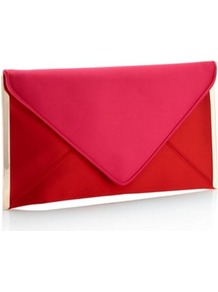 Designer Red Satin Metal Sided Clutch Bag - predominant colour: true red; occasions: evening, occasion; type of pattern: standard; style: clutch; length: hand carry; size: standard; material: satin; pattern: plain; finish: plain