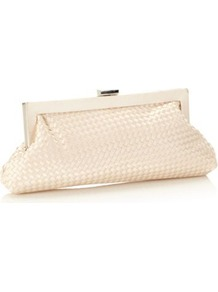 Designer Peach Woven Satin Clutch Bag - predominant colour: ivory; occasions: evening, occasion; type of pattern: small; style: clutch; length: hand carry; size: standard; material: fabric; pattern: plain; finish: plain