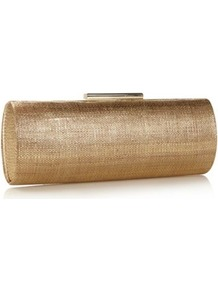 Designer Gold Textured Clutch Bag - predominant colour: gold; occasions: evening, occasion, holiday; type of pattern: small; style: clutch; length: hand carry; size: small; material: fabric; pattern: plain; trends: metallics; finish: metallic