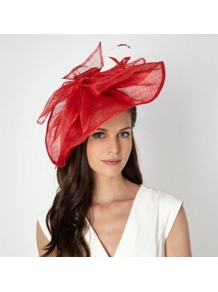 Designer Red Wave Bow Fascinator - predominant colour: true red; occasions: evening, occasion; style: fascinator; size: large; material: sinamay; embellishment: bow; pattern: plain