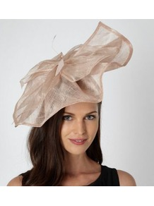 Designer Peach Oversized Bow Fascinator - predominant colour: ivory; occasions: evening, occasion; type of pattern: light; style: fascinator; size: large; material: sinamay; embellishment: bow; pattern: plain