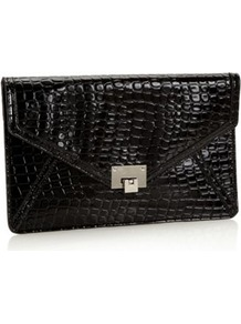 Designer Black Mock Croc Envelope Clutch Bag - predominant colour: black; occasions: evening, occasion; type of pattern: small; style: clutch; length: hand carry; size: standard; material: faux leather; pattern: plain; finish: patent