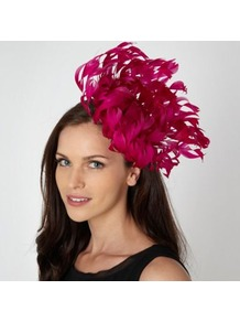 Designer Bright Pink Oversized Flower Fascinator - predominant colour: hot pink; occasions: occasion; type of pattern: standard; style: fascinator; size: large; material: fabric; embellishment: feather; pattern: plain; trends: fluorescent