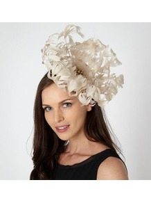 Designer Cream Oversized Flower Fascinator - predominant colour: ivory; occasions: occasion; type of pattern: standard; style: fascinator; size: large; material: fabric; embellishment: feather; pattern: plain