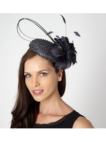 Designer Dark Grey Diamante Quill Beret Fascinator - predominant colour: navy; secondary colour: silver; occasions: occasion; type of pattern: heavy; style: fascinator; size: standard; material: sinamay; embellishment: crystals; pattern: plain; trends: metallics