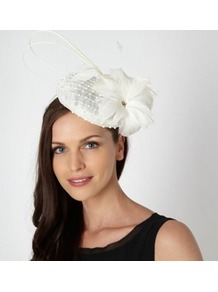 Designer Cream Diamante Quill Beret Fascinator - predominant colour: ivory; occasions: occasion; type of pattern: standard; style: fascinator; size: small; material: sinamay; pattern: plain; embellishment: corsage
