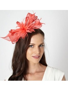 Designer Light Peach Feather Corsage Fascinator - predominant colour: coral; occasions: evening, occasion; type of pattern: light; style: fascinator; size: standard; material: macrame/raffia/straw; embellishment: feather; pattern: plain