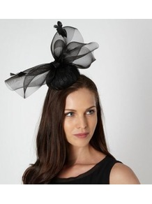 Designer Black Pleated Button Top Fascinator - predominant colour: black; occasions: occasion; type of pattern: standard; style: fascinator; size: large; material: sinamay; embellishment: feather; pattern: plain