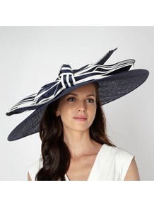 Designer Navy Bind Striped Bow Hair Piece - secondary colour: white; predominant colour: navy; occasions: evening, occasion; type of pattern: heavy; style: wide brimmed; size: large; material: macrame/raffia/straw; embellishment: bow; pattern: striped; trends: statement prints