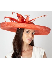 Designer Orange Folded Mesh Corsage Fascinator - predominant colour: bright orange; occasions: occasion; type of pattern: standard; style: wide brimmed; size: large; material: sinamay; pattern: plain; embellishment: corsage