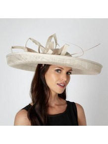 Designer Cream Folded Mesh Corsage Fascinator - predominant colour: ivory; occasions: evening, occasion; type of pattern: light; style: wide brimmed; size: large; material: macrame/raffia/straw; embellishment: feather; pattern: plain; trends: sculptural frills