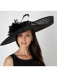 Designer Black Oversize Flower Hair Piece - predominant colour: black; occasions: occasion; type of pattern: light; style: wide brimmed; size: large; material: sinamay; pattern: plain; embellishment: corsage