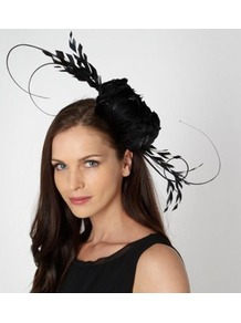 Designer Black Quill Fascinator - predominant colour: black; occasions: evening, occasion; type of pattern: small; style: fascinator; size: large; material: macrame/raffia/straw; embellishment: feather; pattern: plain