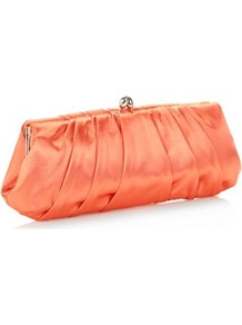 Designer Orange Pointed Clasp Clutch Bag - predominant colour: bright orange; occasions: evening, occasion, holiday; type of pattern: standard; style: clutch; length: hand carry; size: standard; material: satin; embellishment: pleated; pattern: plain; trends: fluorescent; finish: plain