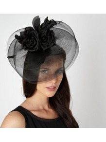 Black Multi Rose Corsage Fascinator - predominant colour: black; occasions: occasion; type of pattern: standard; style: fascinator; size: large; material: sinamay; pattern: plain; embellishment: corsage