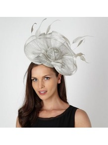 Designer Silver Embellished Flower Hair Piece - predominant colour: silver; secondary colour: silver; occasions: occasion; type of pattern: standard; style: fascinator; size: large; material: sinamay; embellishment: feather; pattern: plain