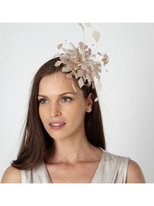 Taupe Curl Feather Headband - predominant colour: stone; occasions: occasion; style: fascinator; size: small; material: fabric; embellishment: feather; pattern: plain