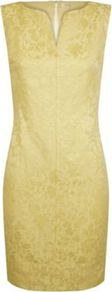 Jacquard Dress - style: shift; length: mid thigh; neckline: v-neck; fit: tailored/fitted; sleeve style: sleeveless; predominant colour: primrose yellow; occasions: evening, occasion; fibres: linen - mix; sleeve length: sleeveless; texture group: ornate wovens; pattern type: fabric; pattern size: small &amp; light; pattern: florals