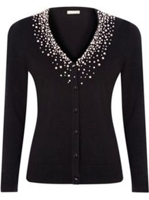 Black Embellished Cardigan - neckline: v-neck; pattern: plain; bust detail: added detail/embellishment at bust; predominant colour: black; occasions: evening, work; length: standard; style: standard; fit: slim fit; sleeve length: long sleeve; sleeve style: standard; texture group: knits/crochet; pattern type: knitted - fine stitch; embellishment: pearls; fibres: viscose/rayon - mix