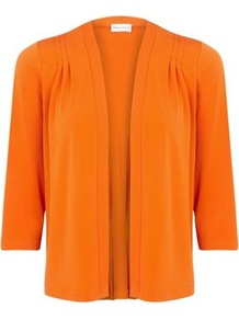 Jersey Cardigan - pattern: plain; neckline: collarless open; bust detail: ruching/gathering/draping/layers/pintuck pleats at bust; style: open front; predominant colour: bright orange; occasions: casual, work; length: standard; fibres: polyester/polyamide - stretch; fit: standard fit; sleeve length: 3/4 length; sleeve style: standard; pattern type: fabric; texture group: jersey - stretchy/drapey