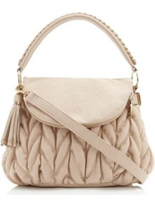 Nude Synthetic Loulou Fold Over Quilted Bag - predominant colour: nude; occasions: work; style: shoulder; length: shoulder (tucks under arm); material: faux leather; embellishment: quilted; pattern: plain; finish: plain