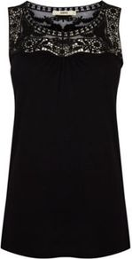 Lace Detail Vest - neckline: round neck; pattern: plain; sleeve style: sleeveless; length: below the bottom; style: vest top; shoulder detail: contrast pattern/fabric at shoulder; predominant colour: black; occasions: casual, evening, holiday; fibres: viscose/rayon - 100%; fit: straight cut; bust detail: contrast pattern/fabric/detail at bust; sleeve length: sleeveless; texture group: cotton feel fabrics; pattern type: fabric; embellishment: lace