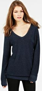 Oversized Sparkle Jumper - neckline: low v-neck; pattern: plain; length: below the bottom; style: standard; predominant colour: navy; secondary colour: silver; occasions: casual, evening; fit: loose; sleeve length: long sleeve; sleeve style: standard; texture group: knits/crochet; trends: metallics; pattern type: knitted - other; pattern size: small & light; fibres: viscose/rayon - mix