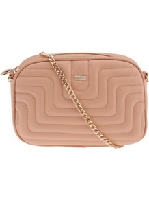 Pink Banguecoque Cross Bag - predominant colour: blush; secondary colour: gold; occasions: casual, evening, work, occasion, holiday; type of pattern: standard; style: shoulder; length: across body/long; size: standard; material: faux leather; embellishment: quilted; pattern: plain; finish: plain
