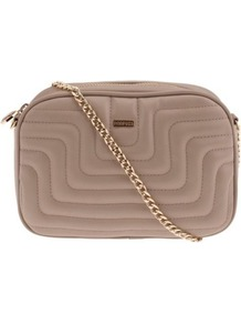 Taupe Banguecoque Cross Bag - predominant colour: taupe; secondary colour: gold; occasions: casual, evening, work, occasion, holiday; type of pattern: standard; style: shoulder; length: across body/long; size: standard; material: faux leather; embellishment: quilted; pattern: plain; finish: plain