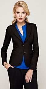 Tailored Jacket Which Is Rain And Stain Resistant - pattern: plain; style: single breasted blazer; hip detail: front pockets at hip; collar: standard lapel/rever collar; predominant colour: black; occasions: evening, work, occasion; length: standard; fit: tailored/fitted; fibres: polyester/polyamide - stretch; waist detail: fitted waist; sleeve length: long sleeve; sleeve style: standard; collar break: medium; pattern type: fabric; texture group: other - light to midweight