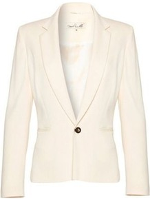 Cream Mali Jacket - pattern: plain; style: single breasted blazer; collar: standard lapel/rever collar; predominant colour: ivory; occasions: evening, work, occasion; length: standard; fit: tailored/fitted; fibres: viscose/rayon - stretch; sleeve length: long sleeve; sleeve style: standard; collar break: low/open; pattern type: fabric; texture group: woven light midweight