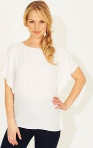 Metro Top White - neckline: round neck; sleeve style: angel/waterfall; pattern: plain; predominant colour: white; occasions: evening; length: standard; style: top; fibres: polyester/polyamide - 100%; fit: loose; sleeve length: short sleeve; texture group: sheer fabrics/chiffon/organza etc.; pattern type: fabric